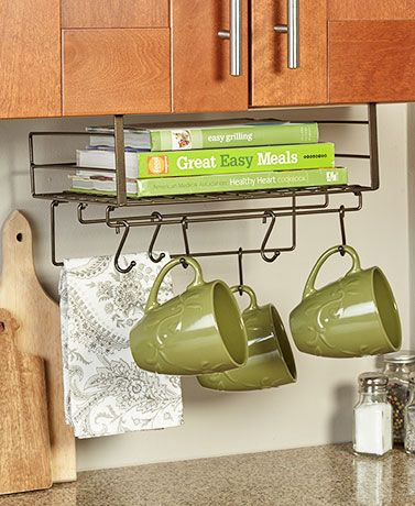 Eliminate Clutter And Add Extra Organization To Your Kitchen With This Under Cabinet Storage Shelf It Slides Onto The Bottom Edge Of Cabinets Cupboards Or
