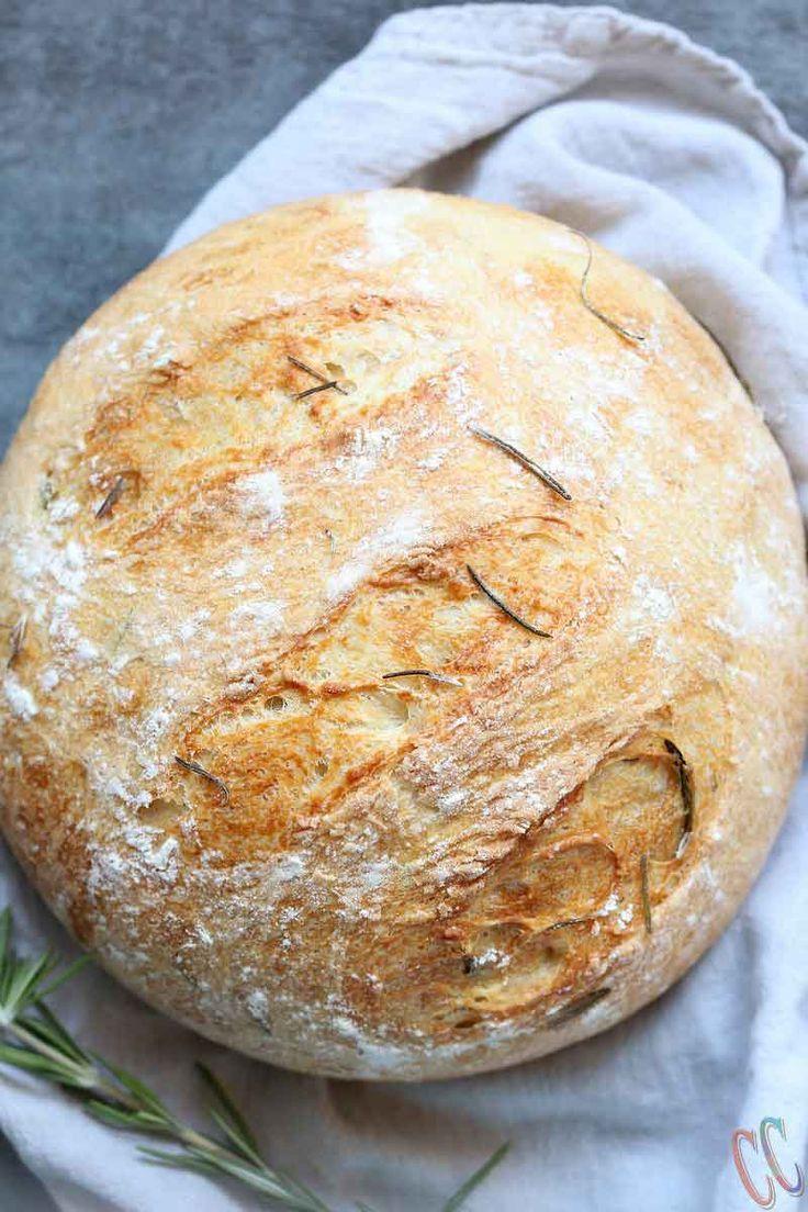 Instant Pot Olive Oil Rosemary No Knead Bread #instantpotrecipes