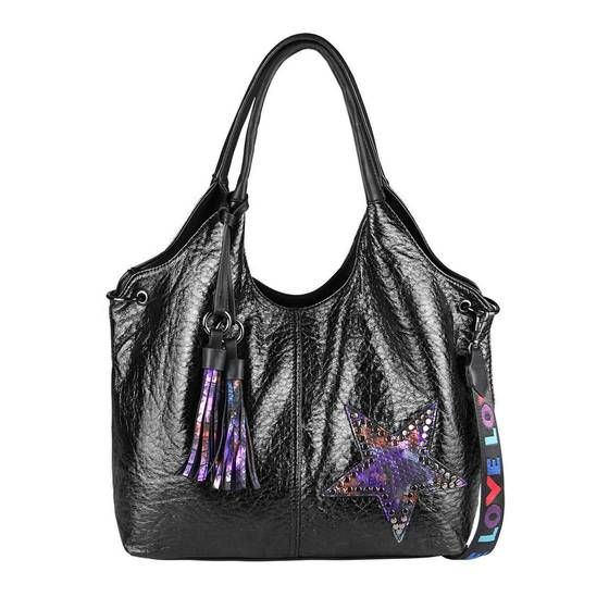 Photo of OBC LADIES STAR BAG METALLIC rivets handbag fringe shoulder bag bowling shopper hobo bag shoulder bag handle bag black 48x32x14 cm