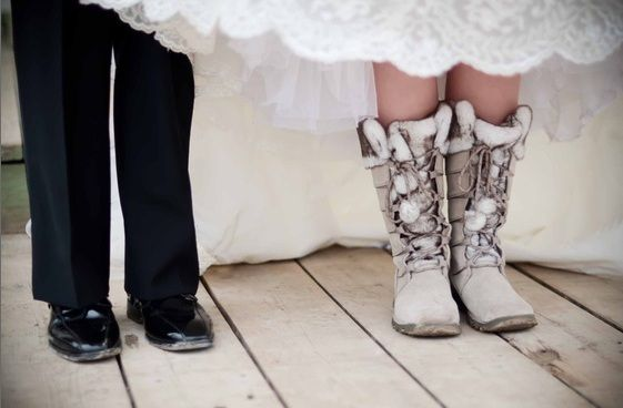 Inspiration By WeddingBee Winter Wedding Bride Boots