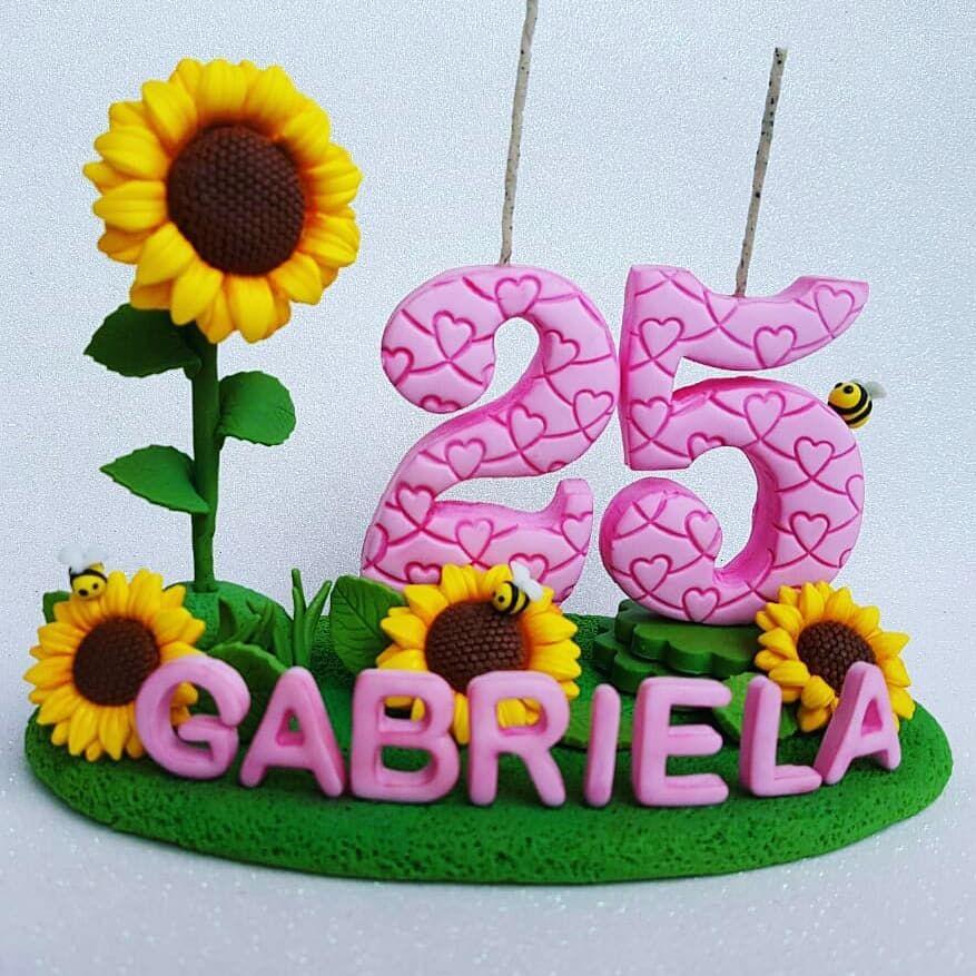 Vela 25 Anos Girassol Amo Essa Flor Alegre E Bonita