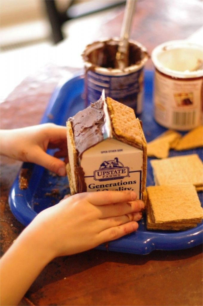 When making a gingerbread house, use frosting on a milk carton (by Creekside Learning)