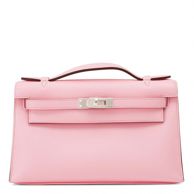 68db435ce111  Hermes  Kelly Pochette Cut Rose Sakura Swift Palladium Hardware  Handbag   Hermeshandbags