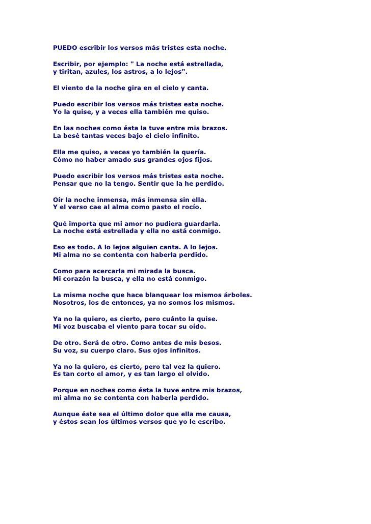 Poema 20 De Pablo Neruda Puedo Escribir Los Versos Poemas Pablo Neruda