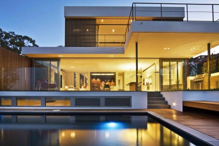 Architecture, Inspiring Modern House Design With Large Swimming Pool And Beautiful Lightning Elegant Contemporary Minimalis Exterior Architecture Views: The Expensive Modern Swimming Pool Designs