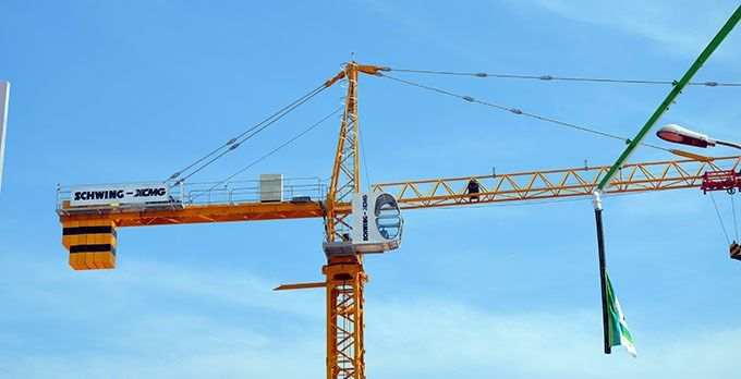 A Schwing-XCMG tower crane on display at the Excon 2015    photo: bi