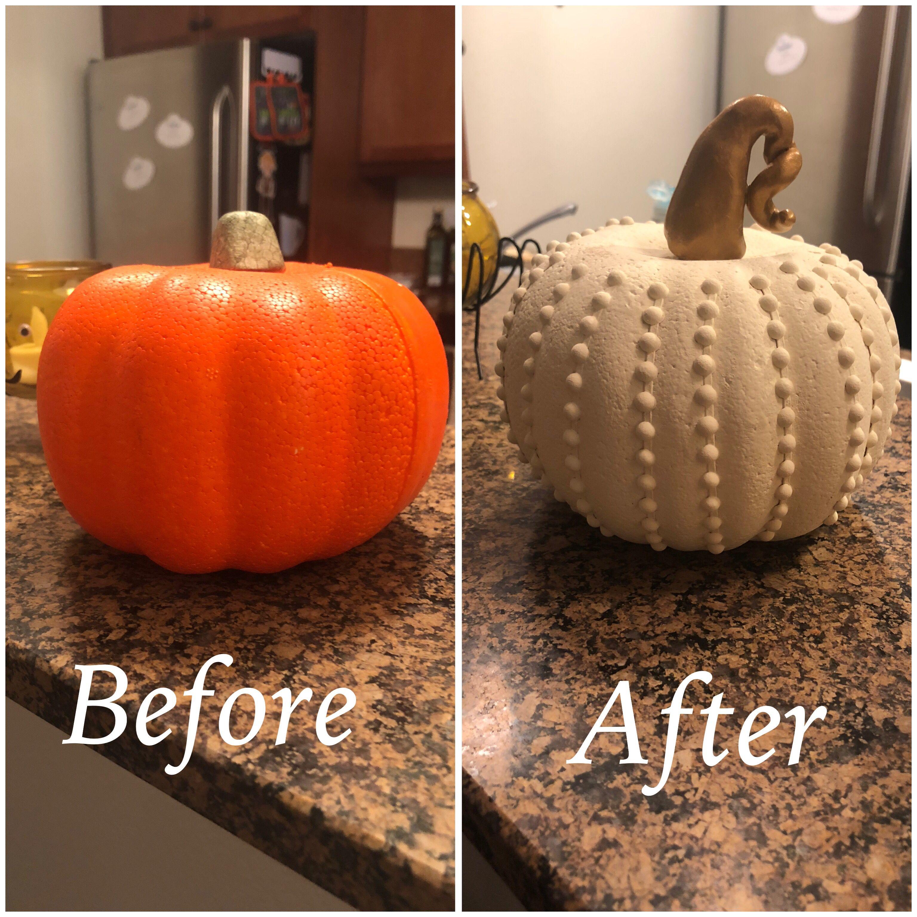 DIY fall Halloween dollar tree pumpkin. Easy craft for
