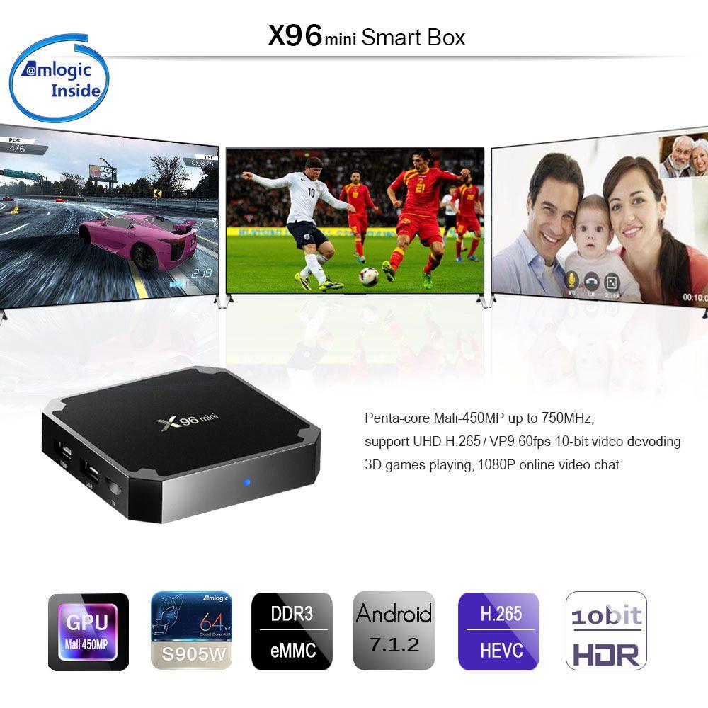 16G 4K Player X96 Mini TV Box Android 7.1.2 Amlogic S905W Quad Core WiFi HD 2G