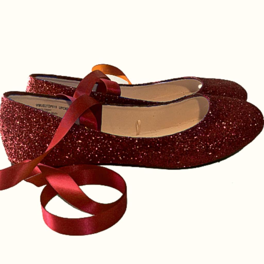Sparkly Maroon Burgundy Glitter Ballet Flats Shoes Wedding Bride