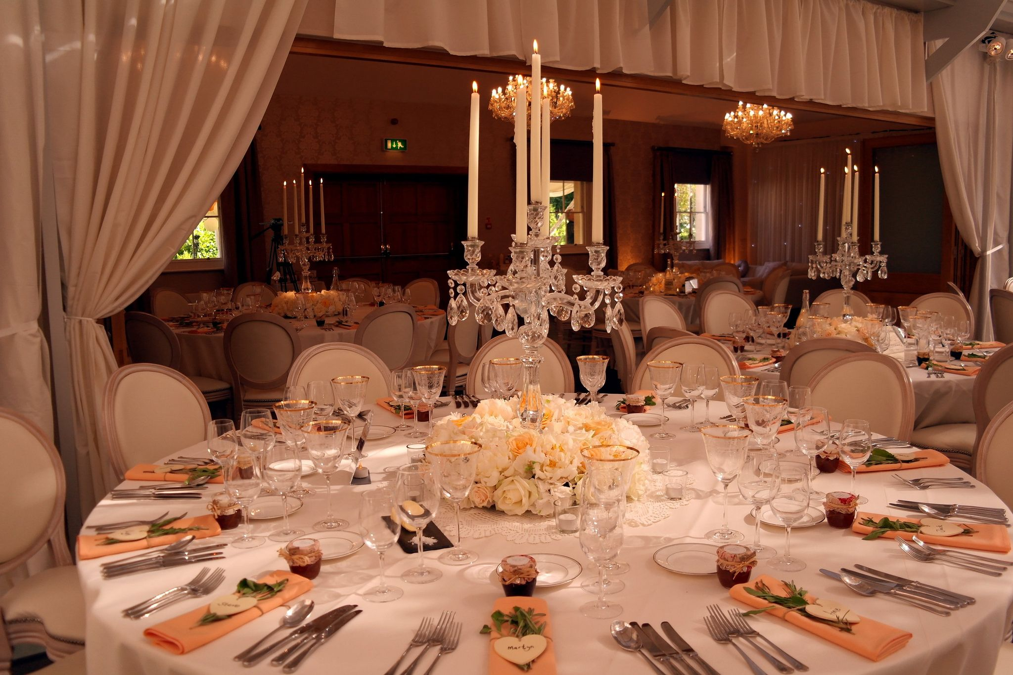 Botleys Mansion Surrey Gl Candelabra With 75cm Plinth And Ivory Candles Wall D