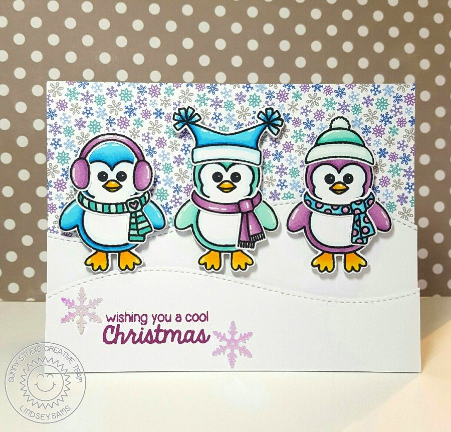 Sunny Studio Stamps: Bundled Up Penguin Cool Christmas Card by ...