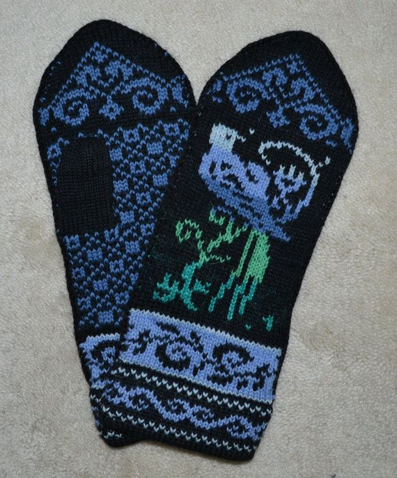 Norwegian Scandinavian hand crafted 100% Wool Mittens, folk art ...