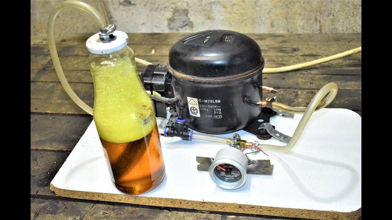 Homemade vacuum pump machine from old refrigerator motor