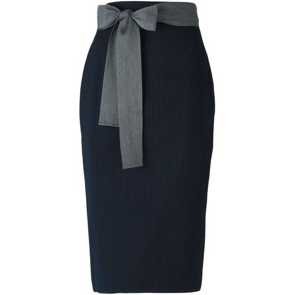 Sofie D'hoore Waist Tie Pinstripe Pencil Skirt ($434) ❤ liked on Polyvore featuring skirts, blue, pinstripe pencil skirt, sofie d'hoore, knee length pencil skirt, blue skirt and pencil skirt