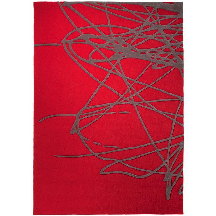 tapis rouge brainstorm par esprit home en laine | tapis et déco