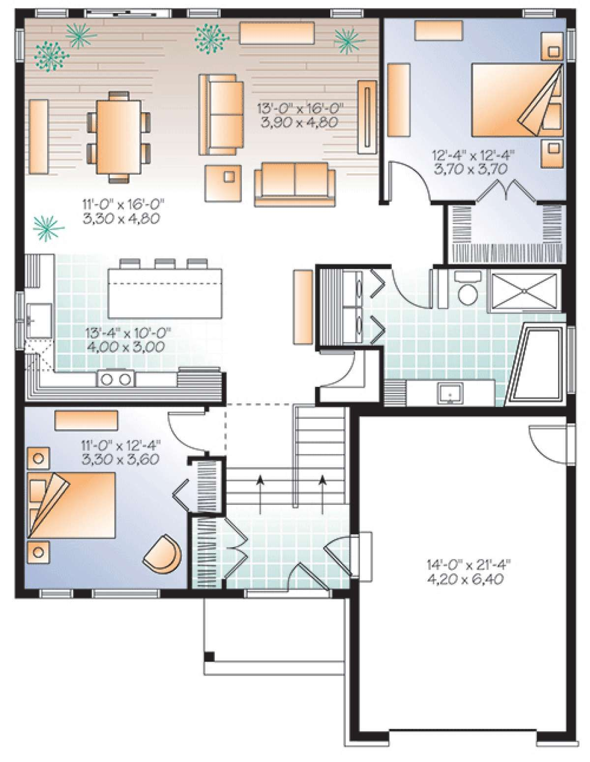 House Plan 03401129 Modern Plan 1,339 Square Feet, 2