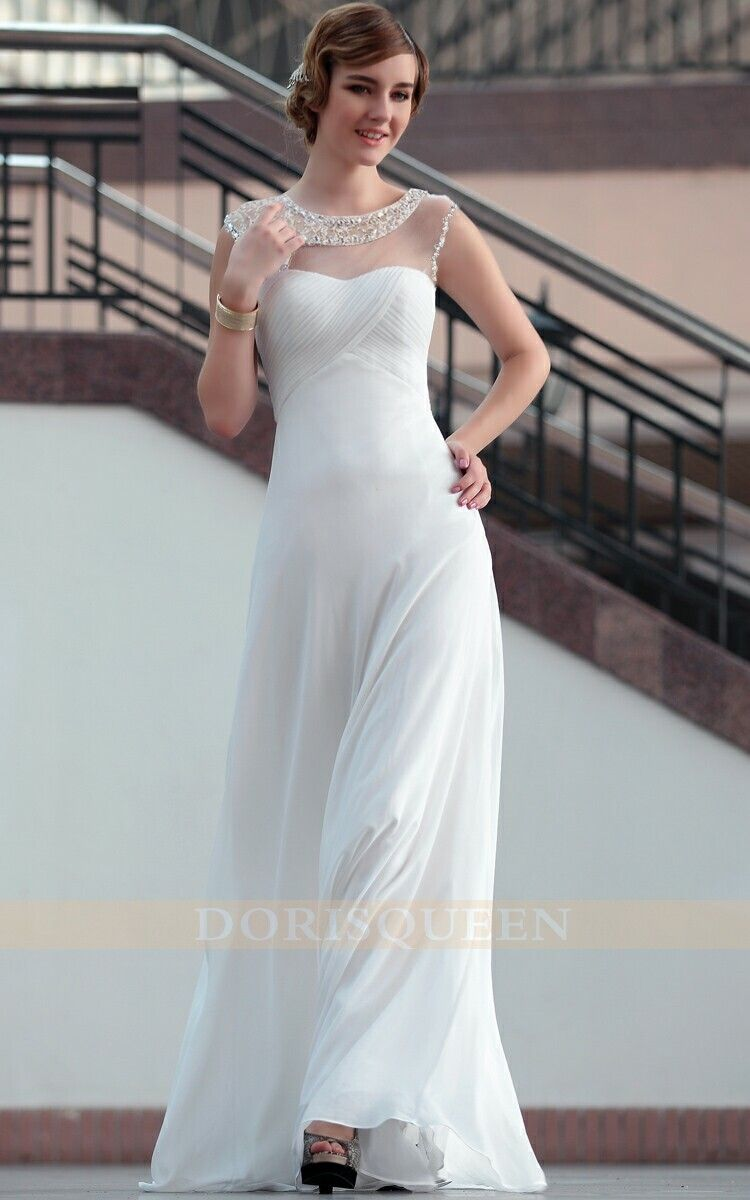 Long wedding reception dresses for the bride  white long wedding party dresses fashion chiffon dresses