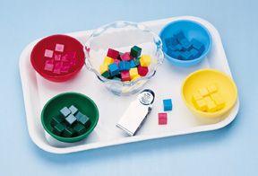 Unifix cubes and color bowls