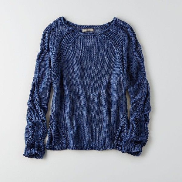 AEO Don't Ask Why Distressed Crew Neck Sweater ($55) ❤ liked on ...
