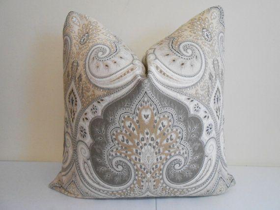 "Kravet Ikat Pillow Cover - Light Brown, Tan, Gray Ivory Kravet Ikat -  Latika Ikat Designer Pillow - Sofa Pillow- 20"" x 20"""