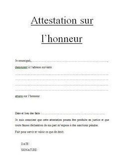 Attestation Sur L Honneur Word Doc A Pinterest Word Doc Et Words