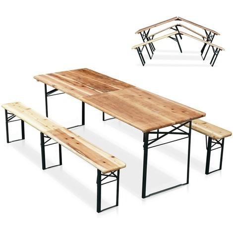 Ensemble Table Et 2 Bancs De Jardin Avec Trou Pour Parasol Salon