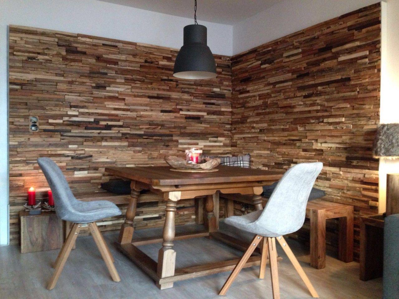 Wand Holz Hütte  Wandgestaltung wohnzimmer holz, Wandpaneele holz