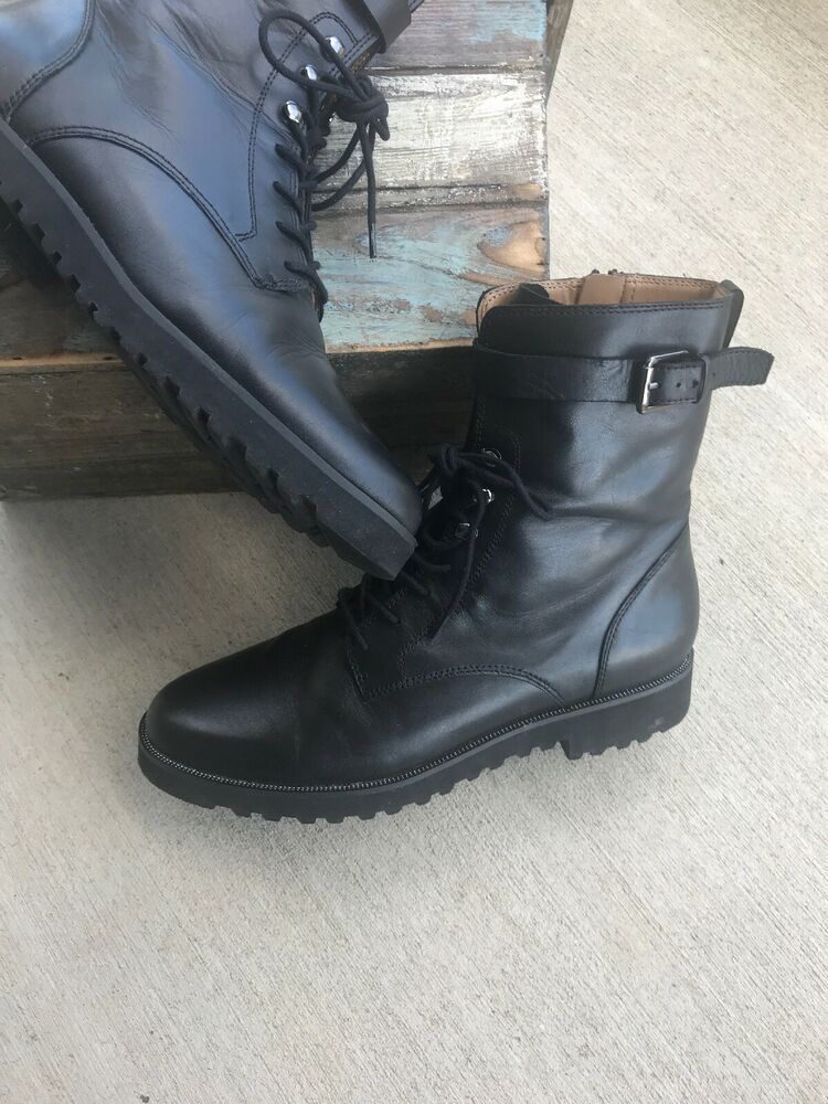 ce514c8d0f0ee Franco Sarto Boots Canon 2 Leather Lace Up Side Zip Shoes 10M | eBay ...