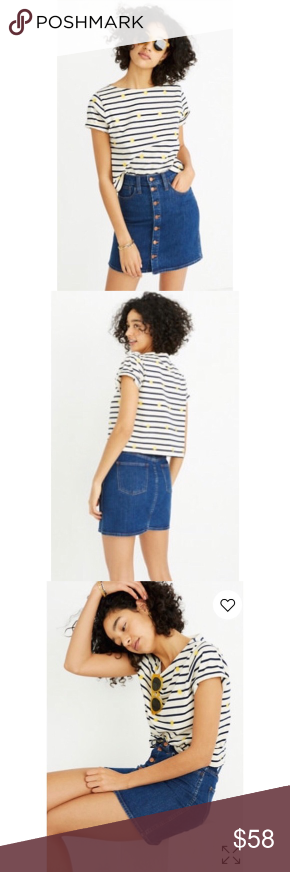 13fcc46dc7 NEW🍒Madewell Button Up Stretch Denim MinI Skirt Madewell Stretch Denim  Skirt in Arroyo Wash
