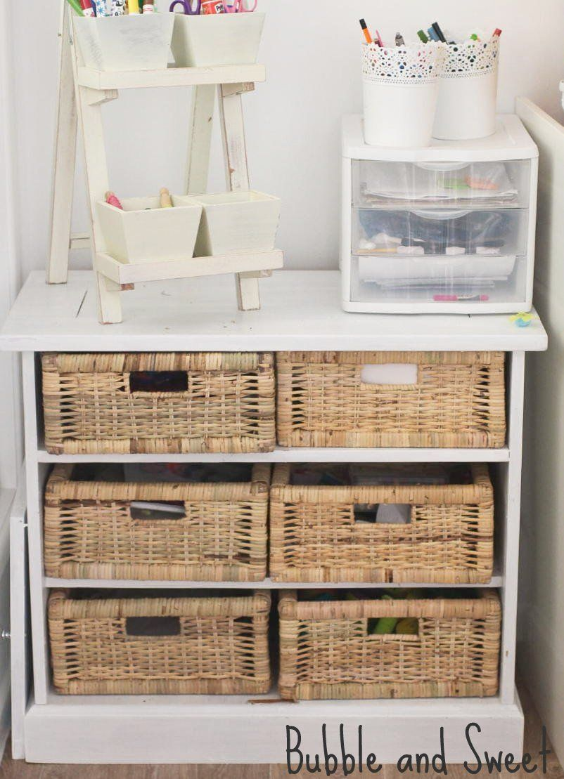 Repurposed Old TV Cabinet With Cane Baskets Inserted