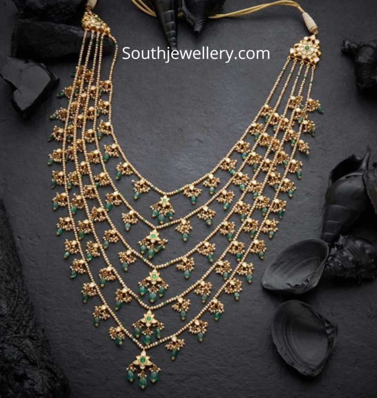 Pearl Polki Panchlada Necklace Photo Jewelry Design 22 Carat Gold Jewellery Jewelry