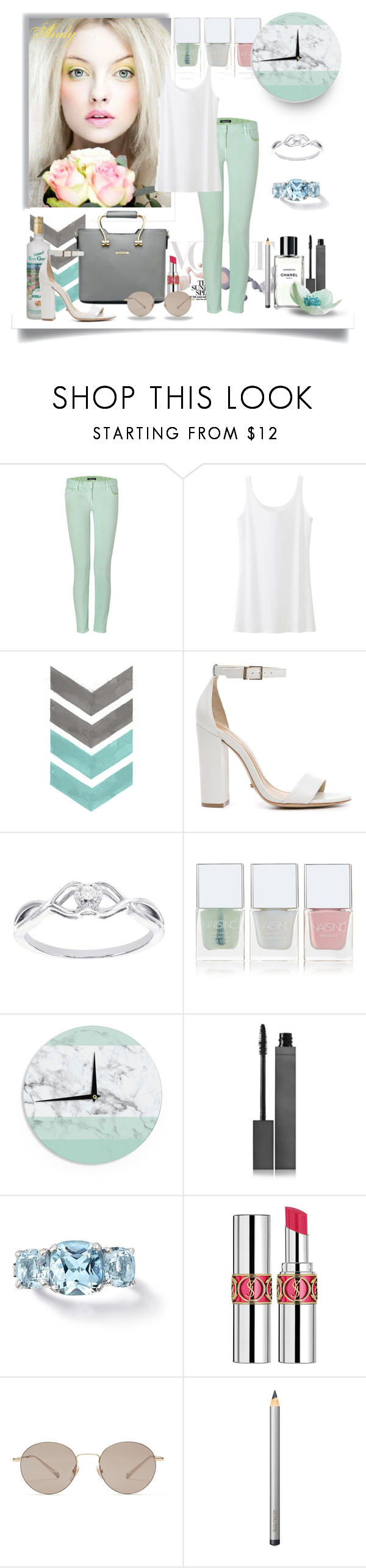 """""""Mint spring!!!"""" by andyts ❤ liked on Polyvore featuring Bottega Veneta, Giallo, Balmain, Uniqlo, Schutz, Modern Bride, Nails Inc., Burberry, Yves Saint Laurent and Gucci"""