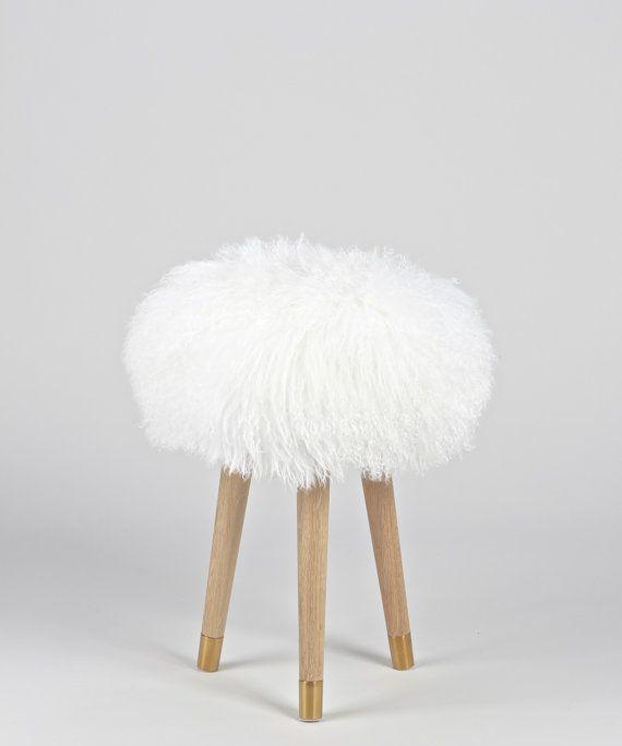 Terrific Fur Vanity Stool 100 Genuine White Mongolian Lamb Fur Machost Co Dining Chair Design Ideas Machostcouk