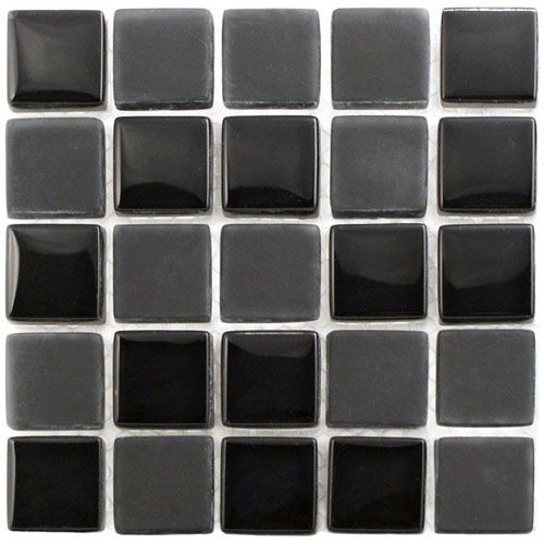 A Matte Black Kitchen Makes A Bold Statement In This: Tiles, Glass Mosaic Tiles, Mosaic Tiles