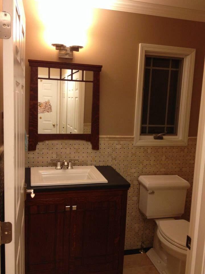 mission style powder room bathroom vanity and mirror on custom bathroom vanity mirrors id=25025