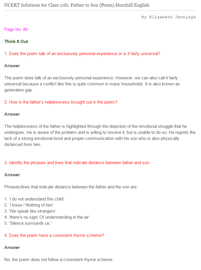 NCERT Solutions For Class 11 English Hornbill Father to Son