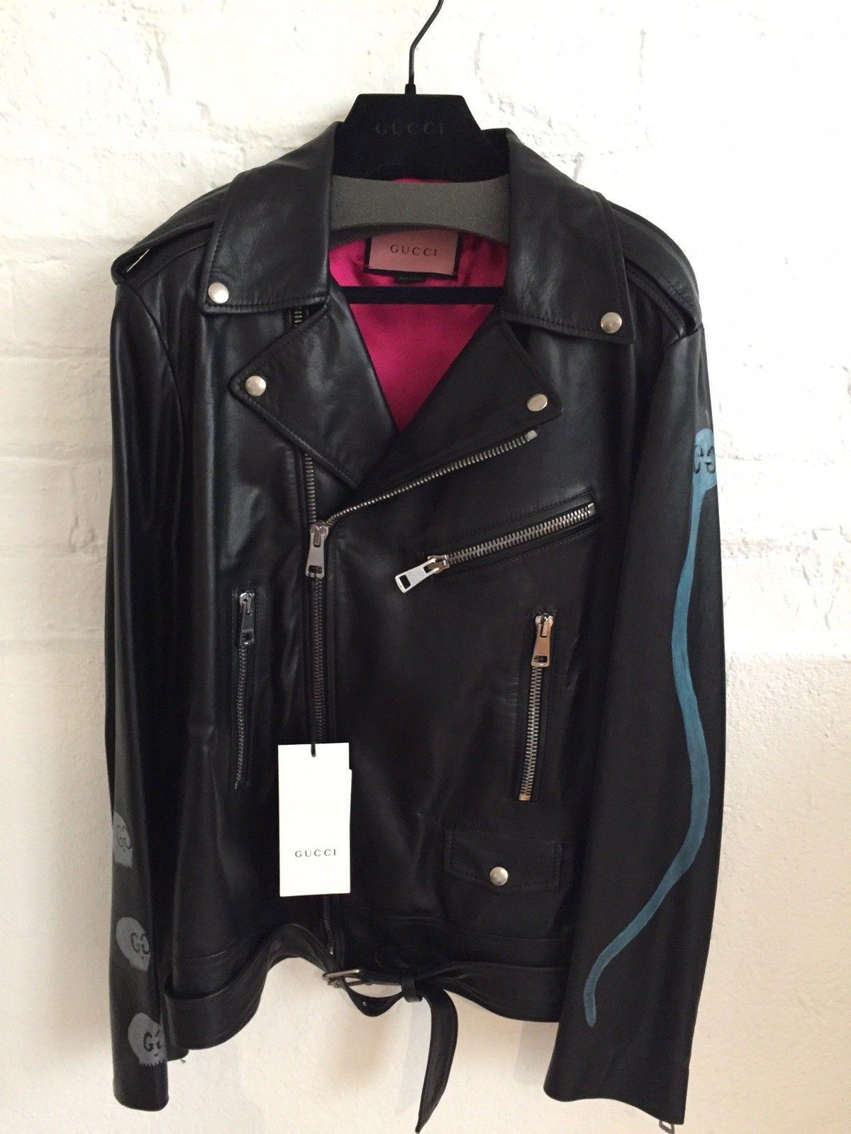 Gucci womens black leather biker jacket ss18 size uk10 £
