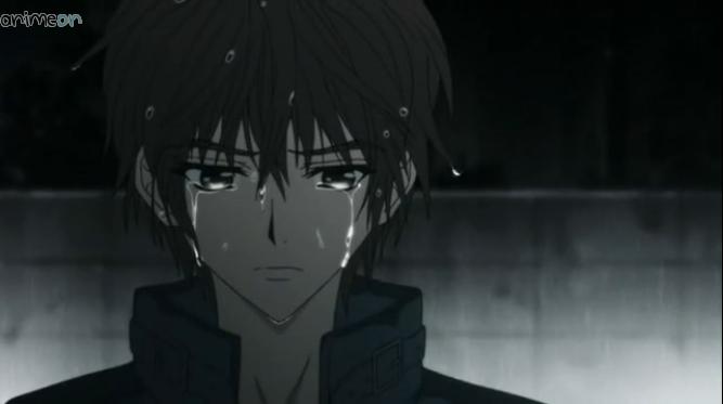 anime boy crying anime girl crying in the rain image
