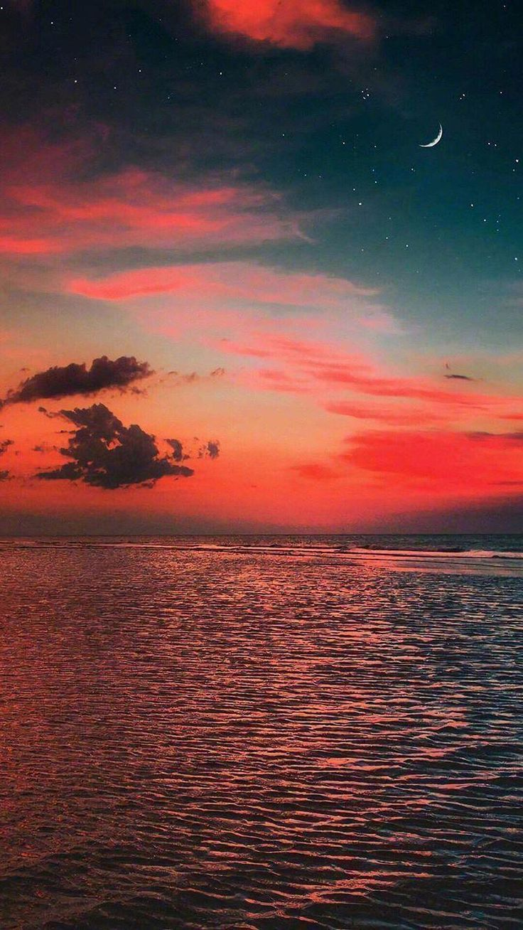 Warm Sunset With Moon In 2020 Beautiful Scenery Photography Sky Aesthetic Nature Photography