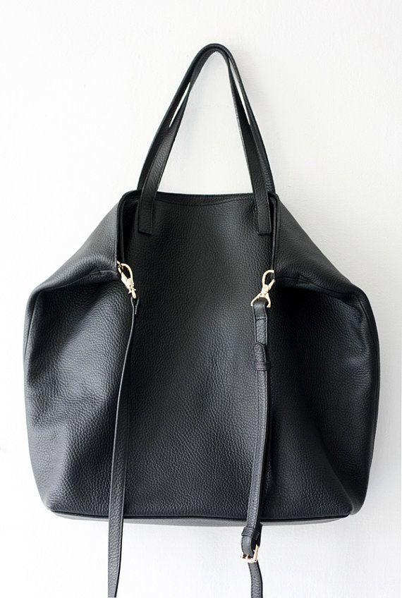 DOMI Top Zip Black Leather Tote Bag by MISHKAbags on Etsy   Bag envy ... 1103be50c7
