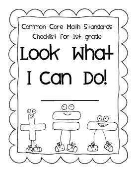 First Grade I CAN STUDENT CHECKLIST for Common Core Math