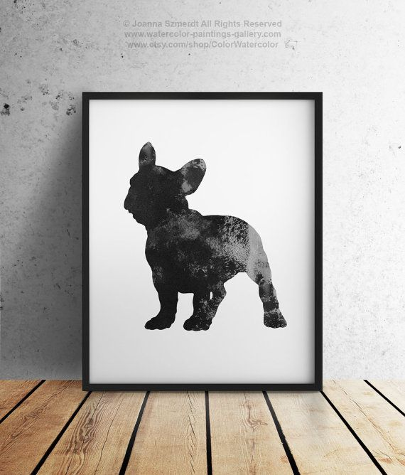 Schwarze Frenchie Poster Abstrakte Silhouette Wand Dekor Hund Aquarell Franzosische Bulldogge Liebhaber Geschenkidee Giclee Druck With Images Painting Gallery Poster Art