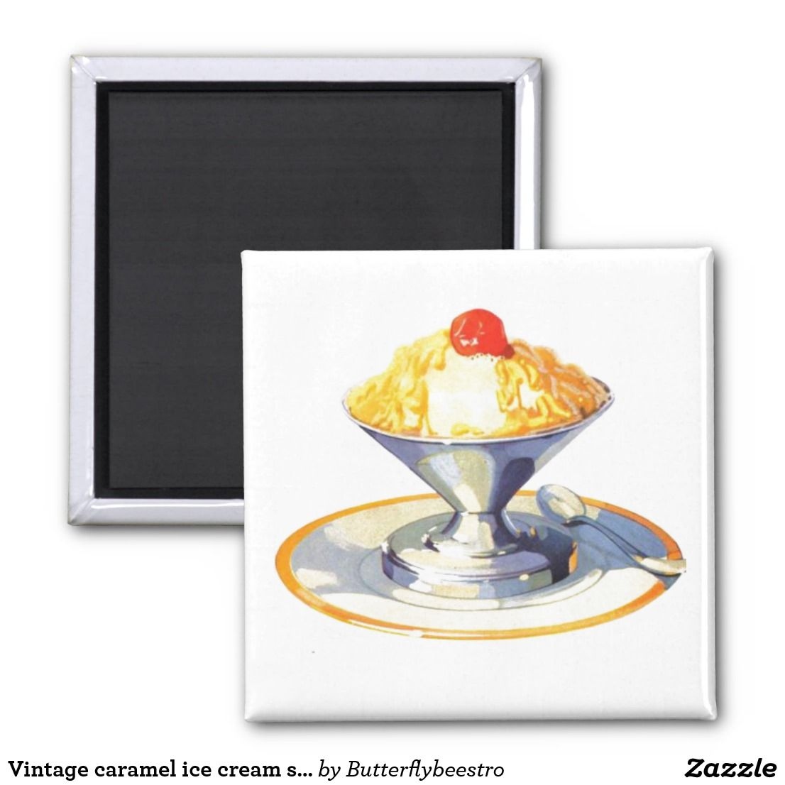 Vintage Ice Cream Sundae Magnet Zazzle Com Vintage Ice Cream