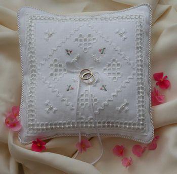 hardanger ring cushion