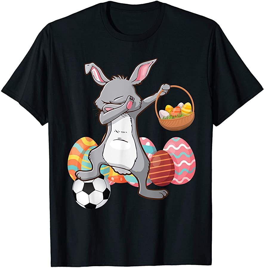 Rabbit Dabbing Playing Soccer With Easter Eggs Basket Happy T Shirt Easter Egg Basket Play Soccer Egg Basket