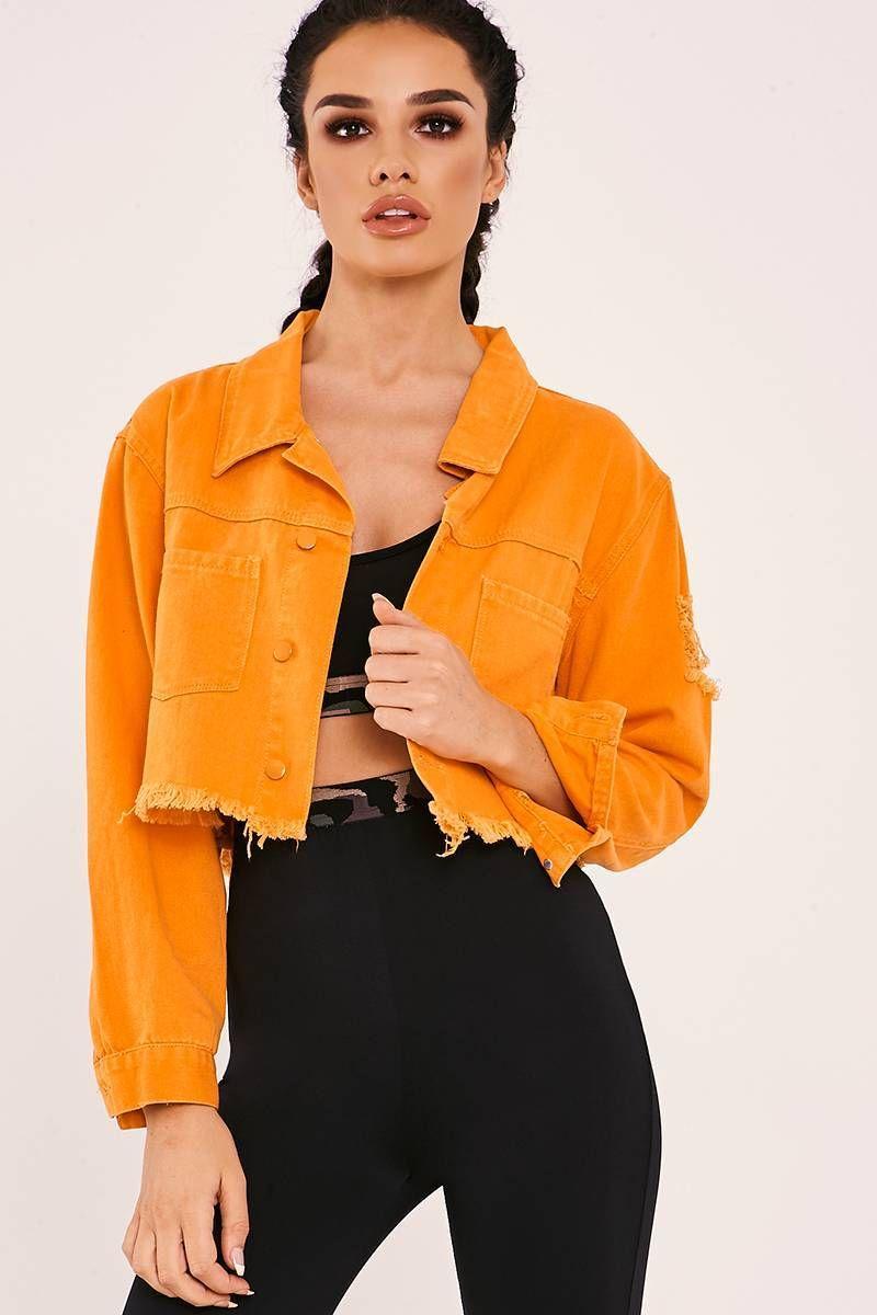 Sarah Ashcroft Orange Frayed Crop Denim Jacket Denim Jacket Women Denim Jacket Trend Cropped Denim Jacket [ 1200 x 800 Pixel ]