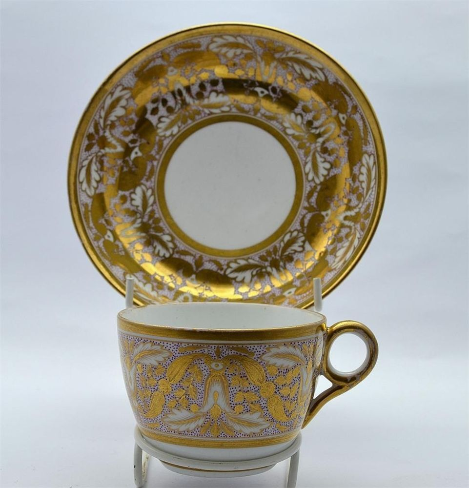 Early 19thC Minton Bute Cup & Saucer -Pat 557 Blue Mark
