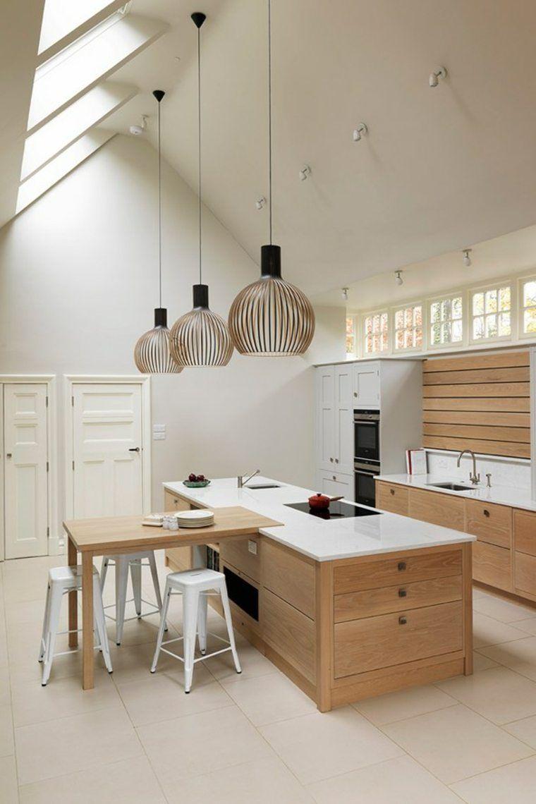 luminaire cuisine idée suspension îlot central table bois