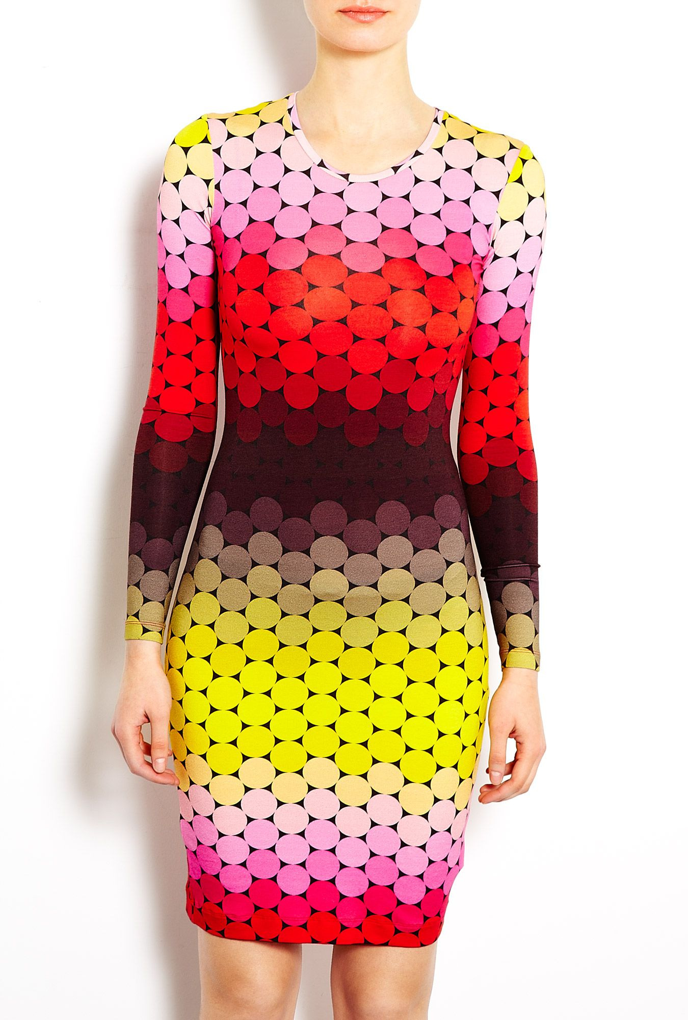 Jonathan saunders jersey long sleeve ombre printed dress fashion