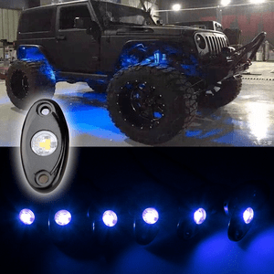 Blue Jeep Led Rock Light Kits With 6 Pods Lights For Off Road